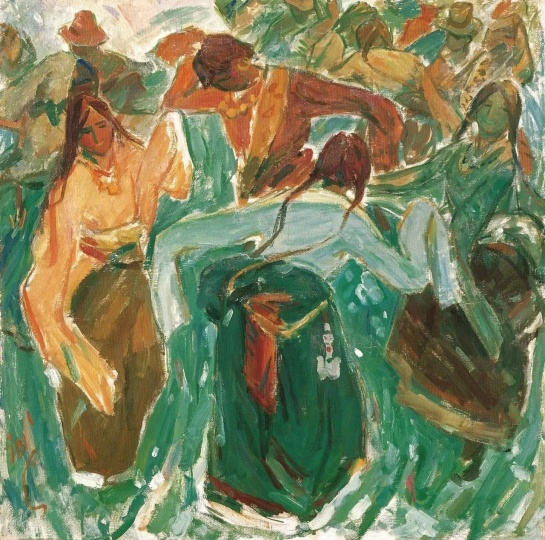 汪诚一 《浪山节》 85×85cm 布面油画 1980