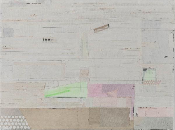 梁铨 《喝茶去》90×120cm茶、色、墨、宣纸拼贴 2011