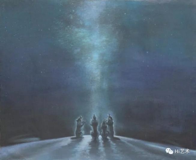 """任戬 《天狼星的传说之十五""""遥远之声""""》100×90cm 布面丙烯 1983"""