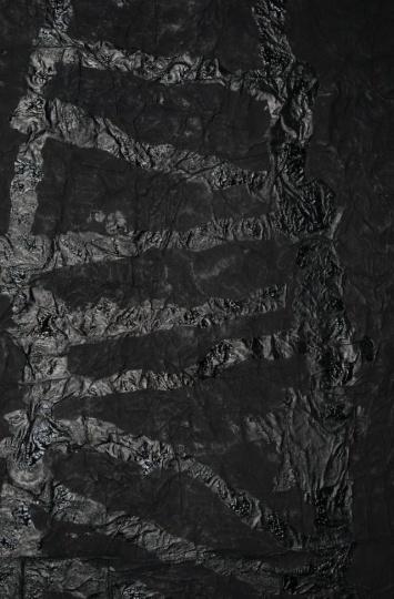 杨诘苍 《天梯》(局部) 193.5×130cm 墨、宣纸、纱布、高丽纸 1992