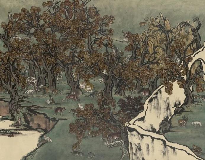 杨诘苍《芥子园 1》 95.5×121.5cm 墨、矿物彩、绢,裱于布面 2010