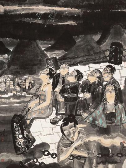 刘庆和 《流星雨》220×170cm纸本水墨1999