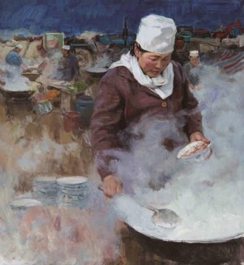曹新林 《羊肉汤》132x120cm 油彩亚麻布 2011
