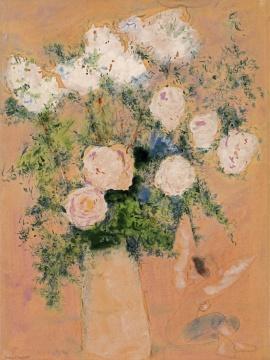 马克·夏加尔《玫瑰花束》70.5x52.3cm 综合材料绘画,水粉、水彩、黑色铅笔、彩色铅笔 、纸 1930