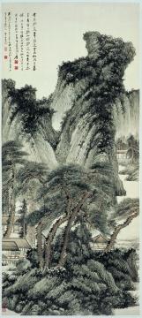 张大千 《仿王蒙山水》124×58.5cm 纸本设色 1937
