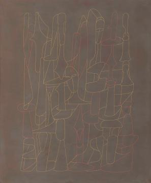 《泣颜回A》60x50cm 大漆、麻、木板 2019