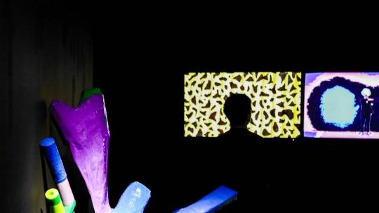 傅志刚个展,展览现场,《饭后操》(局部) ,影像,1'16'',2020