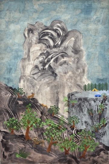 夏阳《山水一》 130×210cm 丙烯、剪贴布 2011