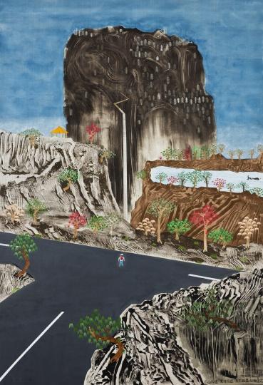 夏阳 《高山仰止》 190×275cm 布面丙烯综合材料 2012