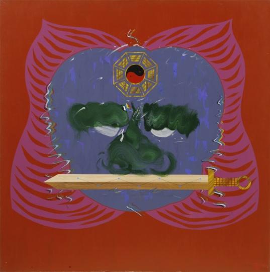 夏阳《狮子啣剑之三》153×153cm 压克力 1993
