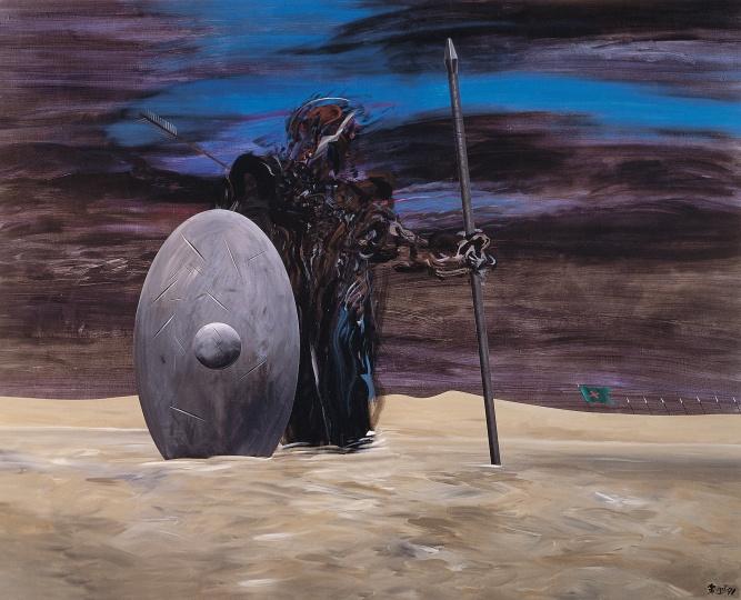 夏阳 《幼发拉底河的败退》163×203cm 布面丙烯1991