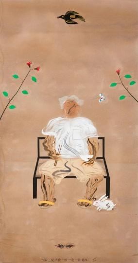 夏阳 《九叶.三花.一蝶.一兔.一鸟,是伴》 253×134cm 布面丙烯、剪贴、纸本2012