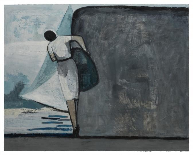 刘晓辉 《无题-搬石头的动作,帆,石头和海》 200×250cm布面油画 2018-2020