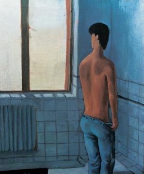 《卫生间里的男人》50×40cm 布面油画1989