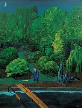 《河边风景》 150×110cm 布面油画1998