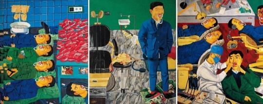 《牙科·整形(三联)》 160X370cm x3 布面油画1995