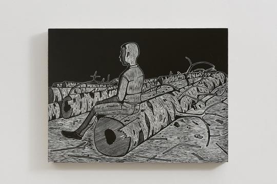 《一个青年》 45×60cm 木刻版画 2012