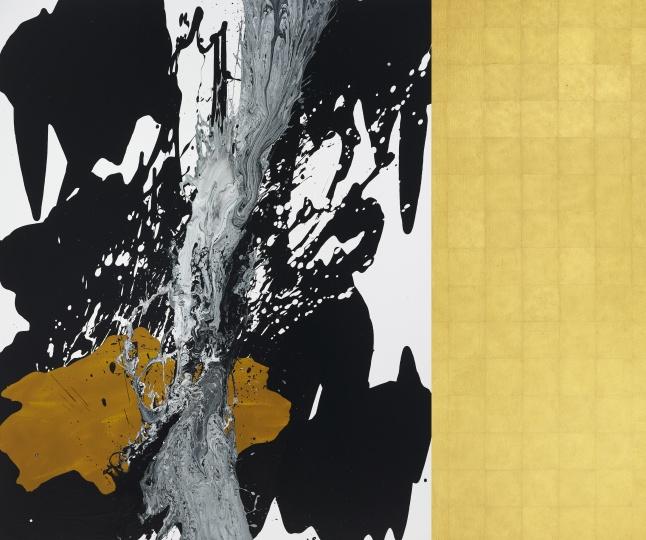 曲德益 《黑白与色D1602》162×195cm布面丙烯 2016