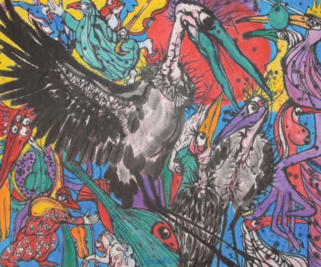 姜宏光 《小鸟天堂系列》176×143cm纸本彩墨2020