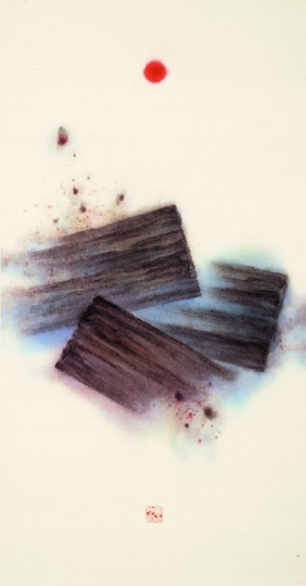 靳埭强 《胸中丘壑》187×97cm纸本水墨设色1994