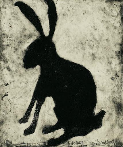 廖芳炎 《黑野兔》41.5×34cm蚀刻版画 2010蔡斯民藏