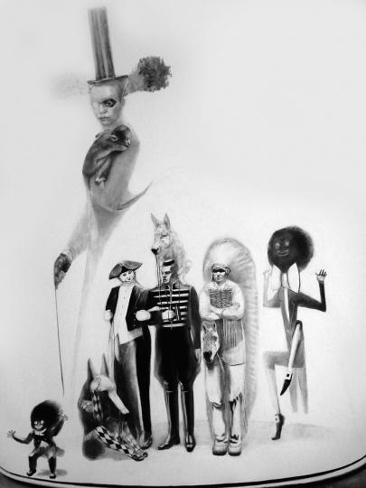 罗琳·塔雷雷瓦(Lorene Taurerewa) 《非礼勿说,非礼勿视,非礼勿听》201×152.7cm纸本炭笔2011