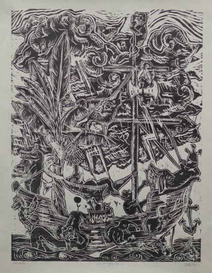 邢万和 《愚人船》65×50cm木刻版画2016