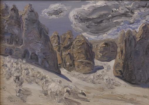 李新建《古格羊》55×78cm 布面油画 1984