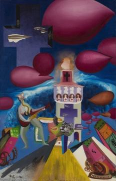 李新建《赫尔墨大广场》 118×181cm 布面油画 1989-1990