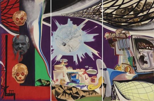 李新建《江孜维特鲁维亚人城堡》 200×100cm×3 混合媒介 1990-1991