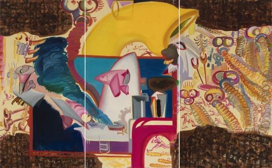李新建《警报响起》 198×110cm×3 混合媒介 1989-1990