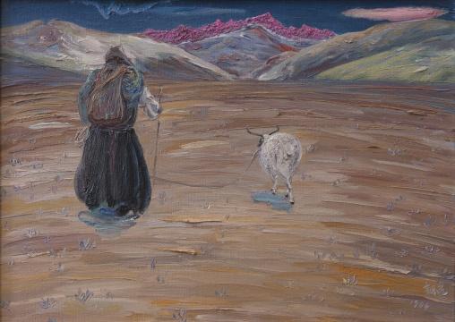 李新建《南迦巴瓦朝圣信徒》 55×78cm 布面油画 1984