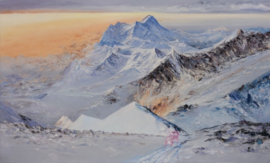 李新建《喜马拉雅北坡粉红雪豹》 180×300cm 布面油画 2020