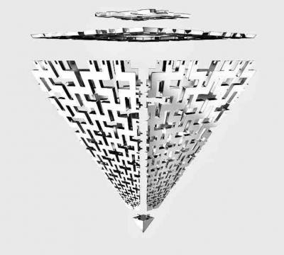 李新建《曼达洛迷宫环》150×10cm 不锈钢 2020