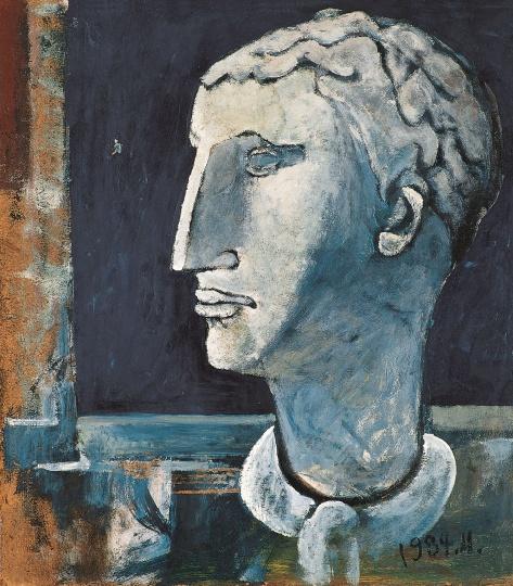 《窗前的⽯膏像》39×35cm 布面丙烯 1984