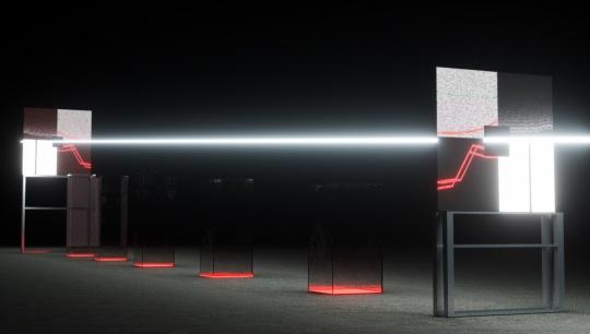 N-APE STUDIO 《显微镜》 100cm×20cm×30cm P2 LED屏幕、钢结构、亚克力、若干电源连接线、雷达传感器 2021(图片由艺术家提供)