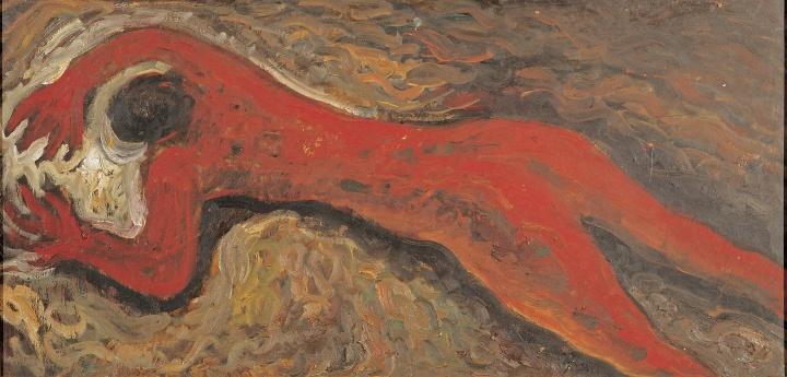 《红色人体》 48×100cm 板上油画 1984