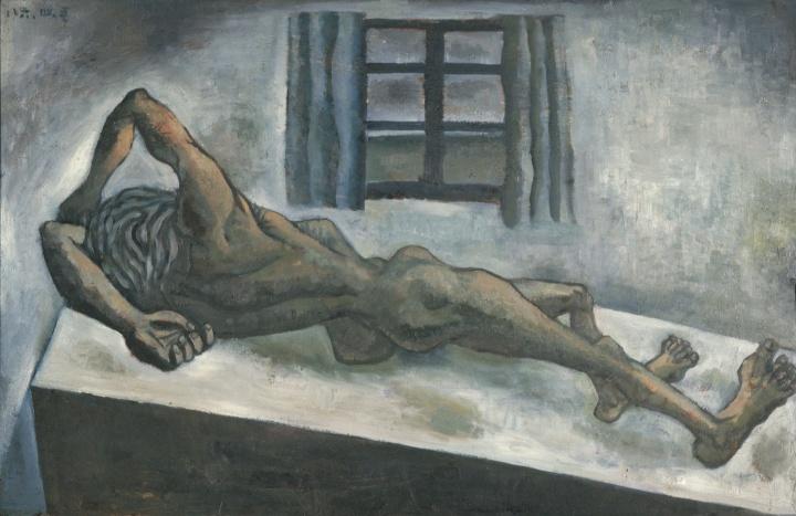 《水泥房间里的人体·正午》 65×100cm 板上油画 1986