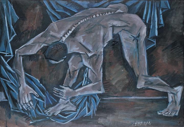 《弯腰的人体和蓝色的布》 53×76cm 布面油画 1989