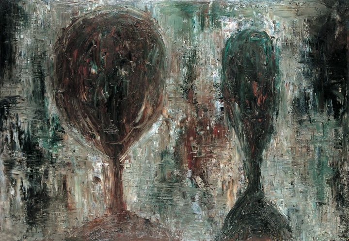 《两个头像之二》 53×77cm 纸本油画 1988