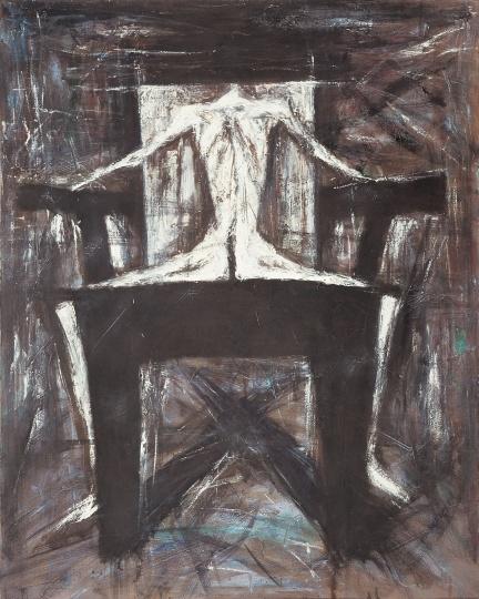 《靠背椅上的白色人体》 101×81cm 布面油画 1989