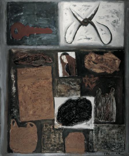 《剪刀和包装袋》 180×150cm 布面油画、拼贴 1996