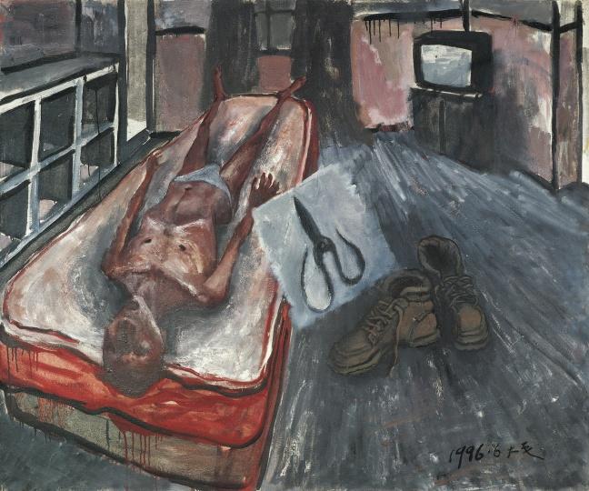《剪刀和你的孤独在一起》 120×145cm 布面油画 1996
