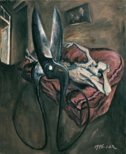 《剪刀和你的烦恼在一起》 145×120cm 布面油画 1996