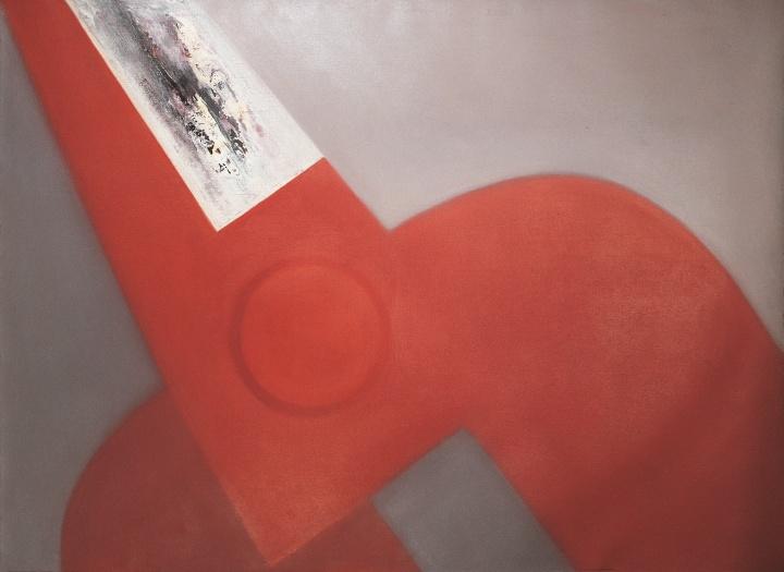 《倾斜的红色剪刀·四分之一把》 130×180cm 布面油画 2001