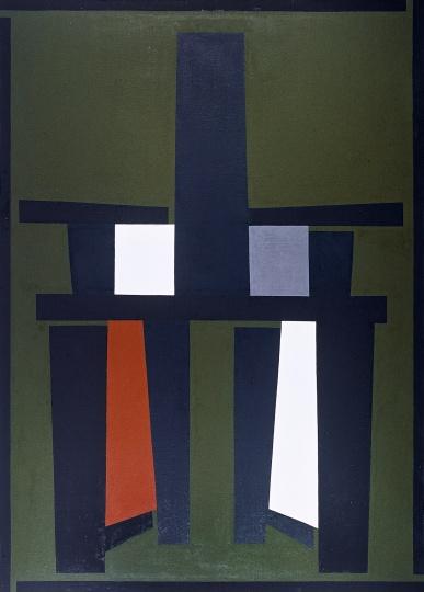 《绿色背景的黑色靠背椅》 250×180cm 布面油画 2008