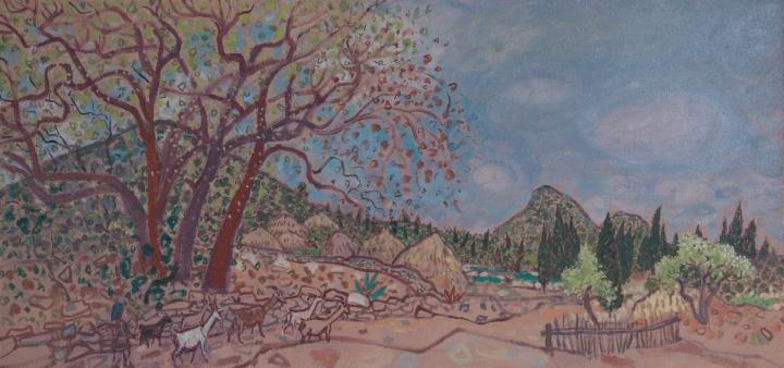 《圭山写生·春天的西北村口》 75×165cm 布面油画 2014