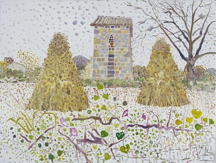 《圭山·有瓜叶和牵牛花的风景》 70×90cm 布面油画 2010