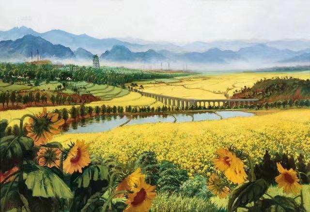 吴作人 《战地黄花分外香》 119×176cm布面油画 1977  以8050万元成交于2013中国嘉德春拍,由泰康保险集团收藏