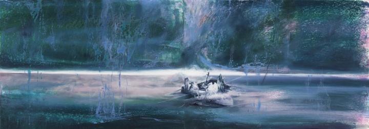 《重生之河 No. 2》 36×102cm 纸本油画棒 2021